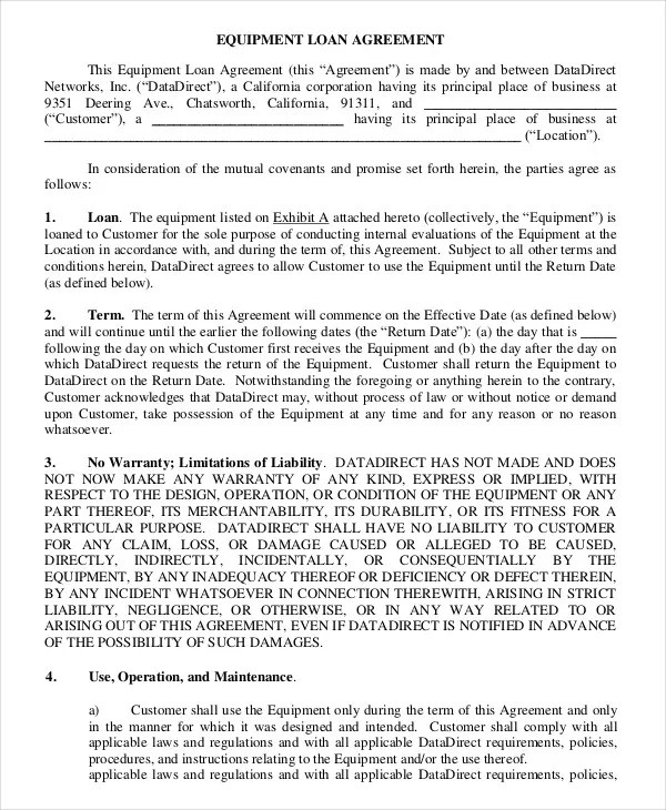 Loan Agreement Template - 11+ Free Sample, Example, Format Free - loan agreement sample letter