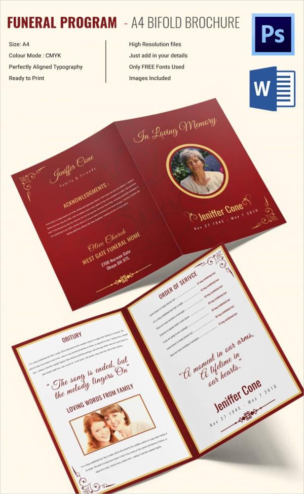 free printable funeral program template