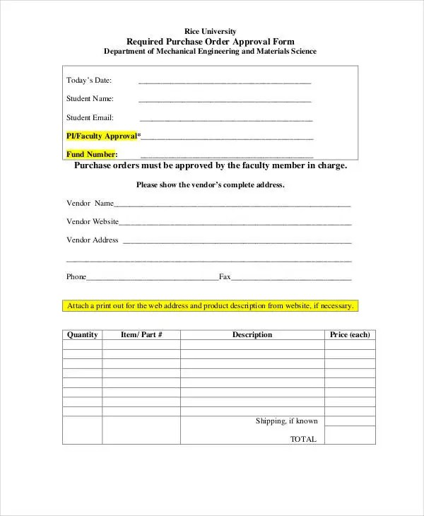 Purchase Order Form - 15+ Free Word, PDF Documents Download Free