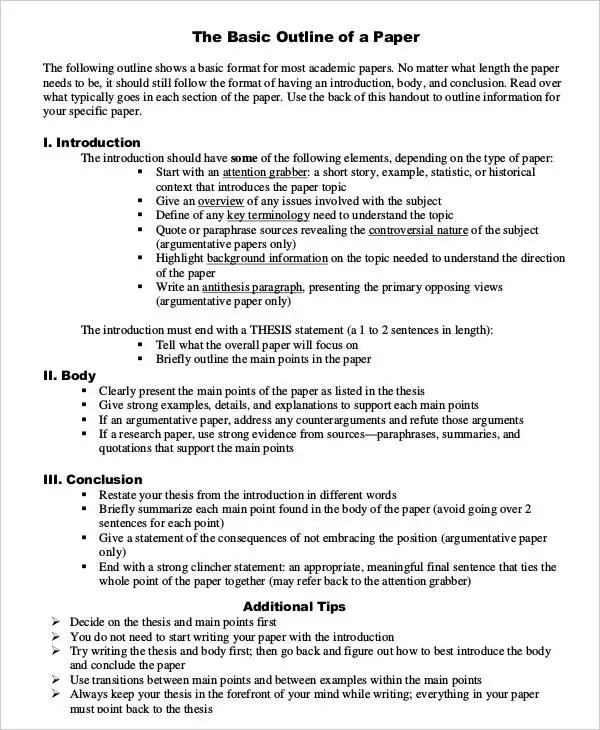 outline of a paper - Acurlunamedia - research paper outline template