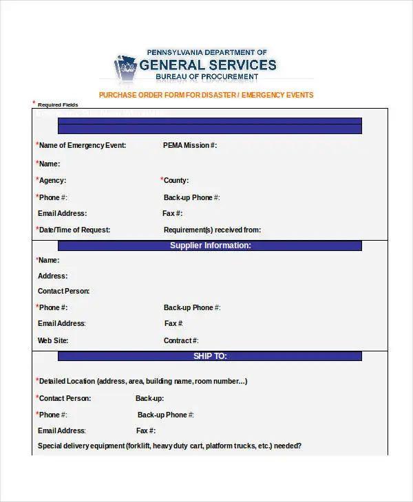 format for purchase order form