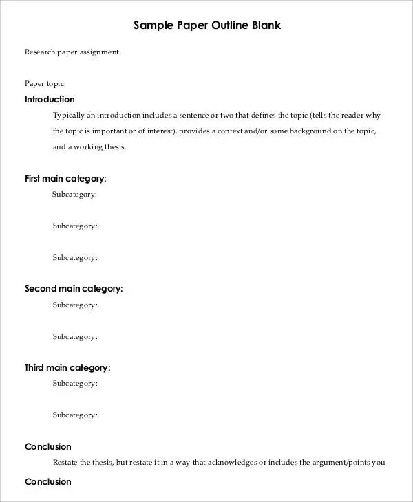 Printable Research Paper Outline Template - 8+ Free Word, PDF