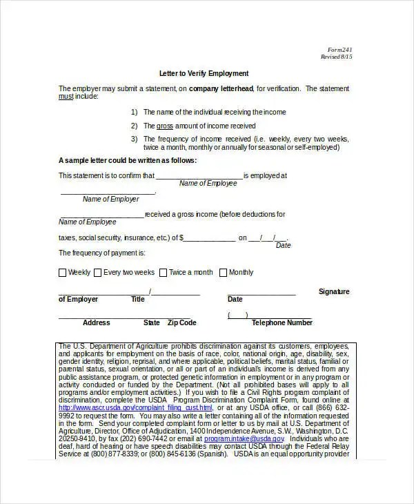 Income Verification Letter - 5+ Free Word, PDF Documents Download - income verification form