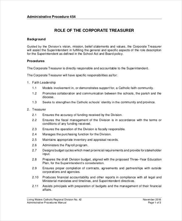 10+ Treasurer Job Description Templates - PDF, DOC Free  Premium - treasurer job description