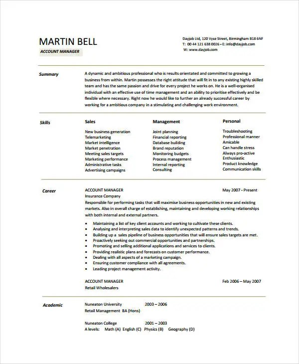 Free Manager Resume It Network Manager Resume Free Top Professional - account manager sample resume