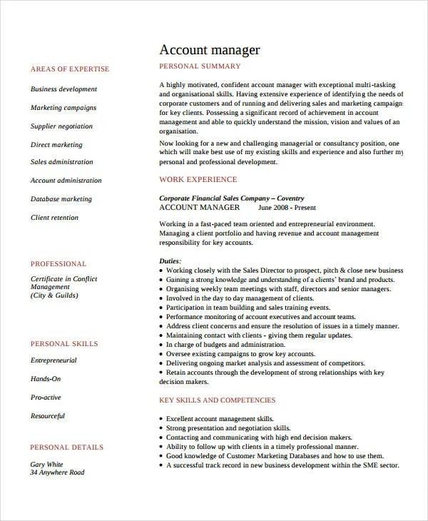 10+ Account Manager Resume Templates - PDF, DOC Free  Premium