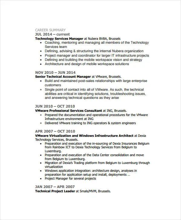 technical account manager cv