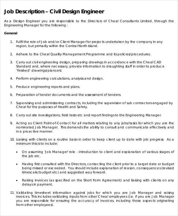 Engineer Job Description - 9+ Free Word, PDF Documents Download - project engineer job description