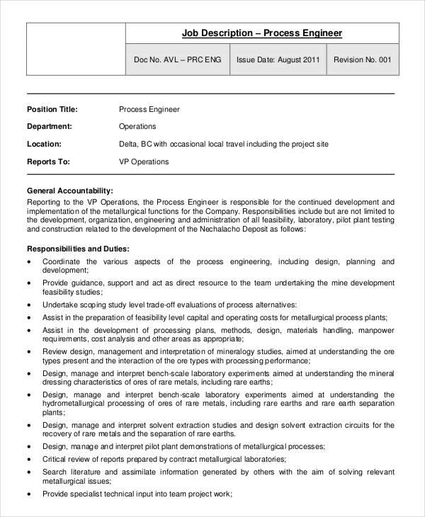 ... Process Engineer Job Description Job Performance Evaluation Form   Cto Job  Description ...