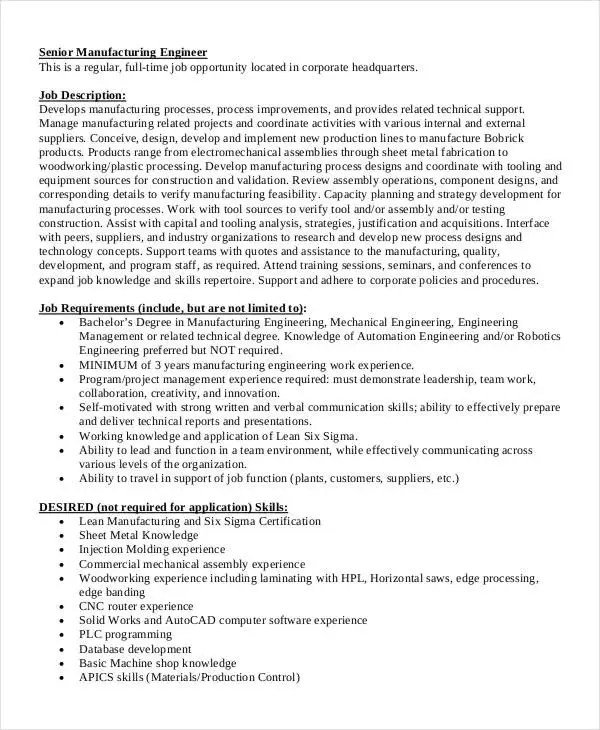 Manufacturing Engineer Job Description Automotive Field Service - manufacturing engineer job description
