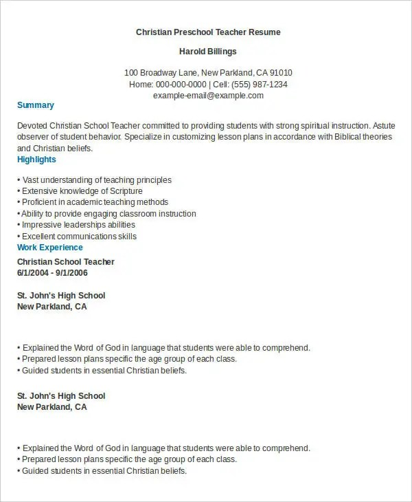 Preschool Teacher Resume - 9+ Free Word, PDF Documents Download - montessori teacher resume