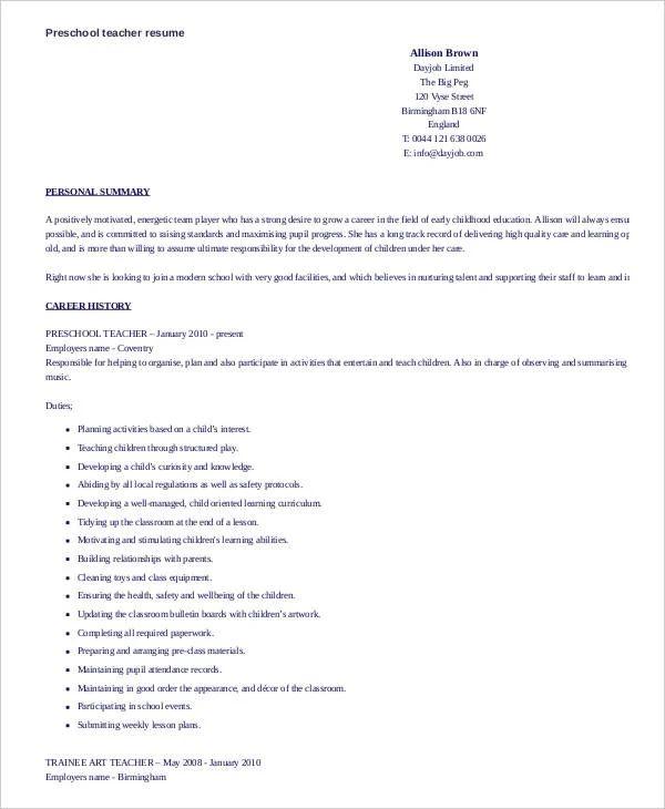 resume for a preschool teacher sample
