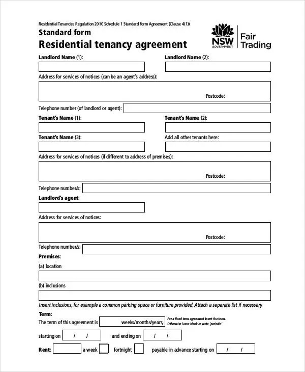 Rent Agreement Form - 9+ Free Word, PDF Documents Download Free