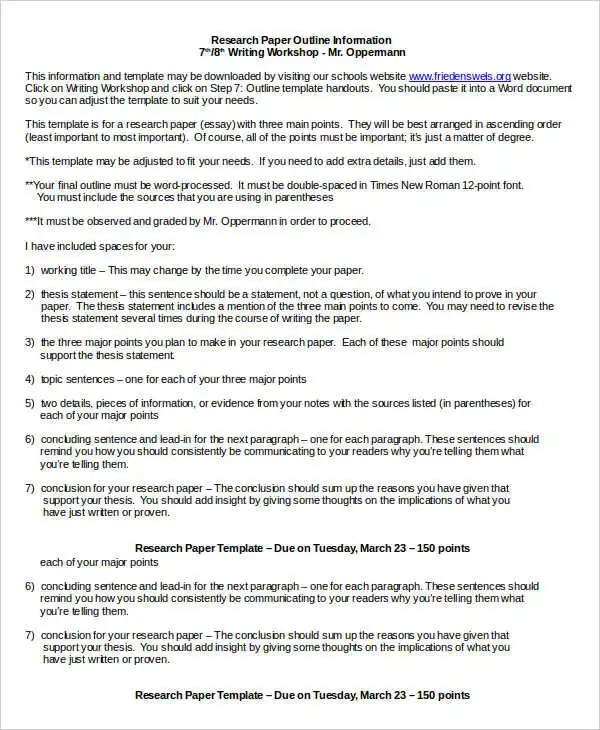 Research Paper Template - 9+ Free Word, PDF Documents Download - point paper template