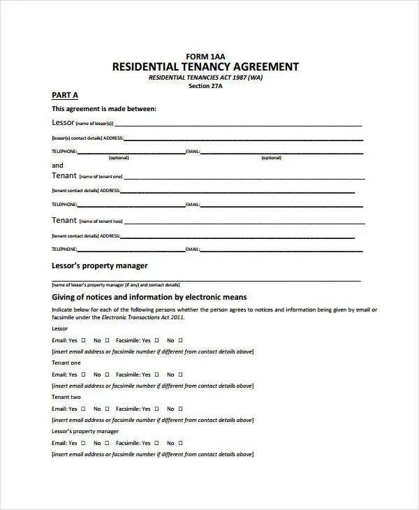... Rent Agreement Form   9+ Free Word, PDF Documents Download Free   Blank  Tenancy ...