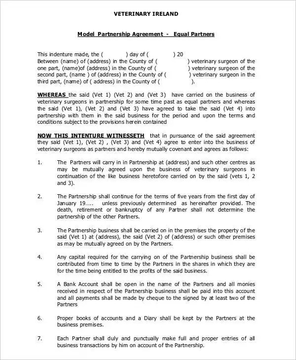 General Partnership Agreement - 9+ Free PDF, Word Documents - business partnership contract