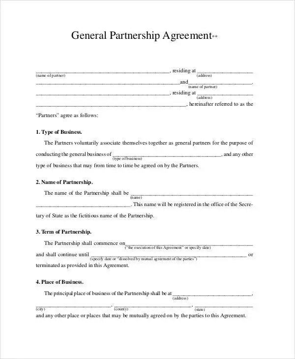 General Partnership Agreement - 9+ Free PDF, Word Documents Download - Sample Business Partnership Agreement