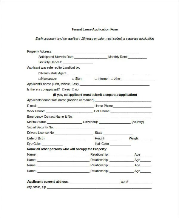 Tenant Application Form - 9+ Free Word, PDF Documents Download - Tenant Information Form