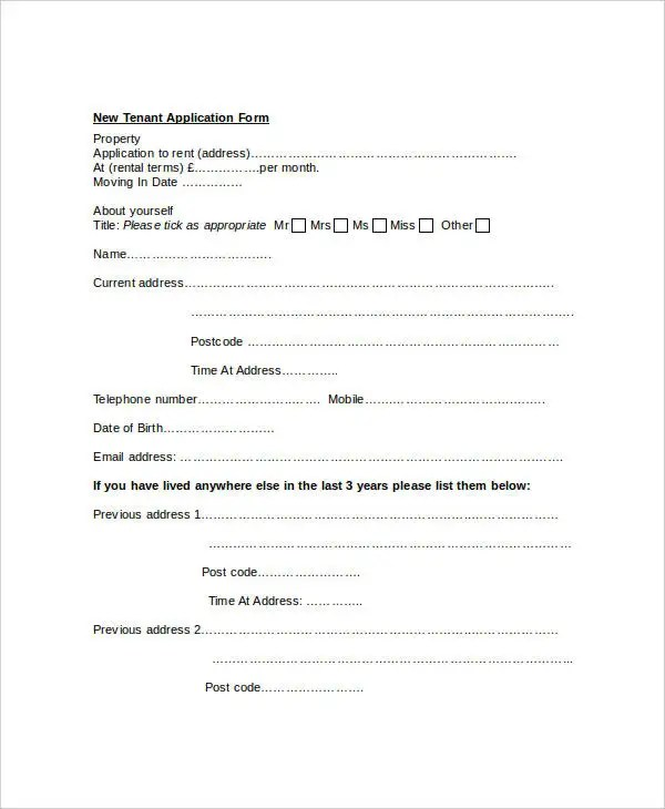 Tenant Application Form - 9+ Free Word, PDF Documents Download - tenant application form
