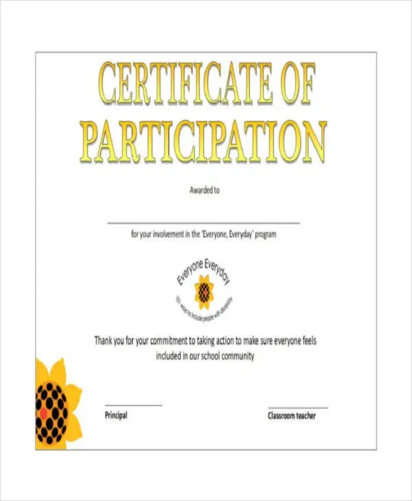 Certificate Of Participation Template - 7+ Free Word, PDF - certificate of participation free template