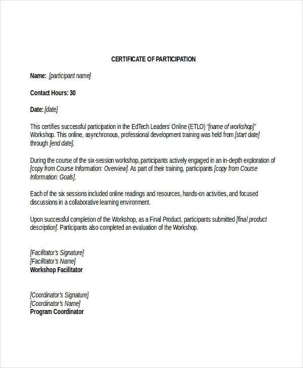 participation wording samples copy sample plaque certificate of - certificate of participation format