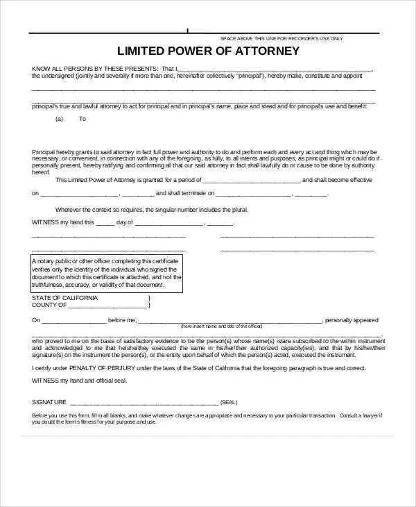 Limited Power Of Attorney Forms free limited power of attorney - sample limited power of attorney form