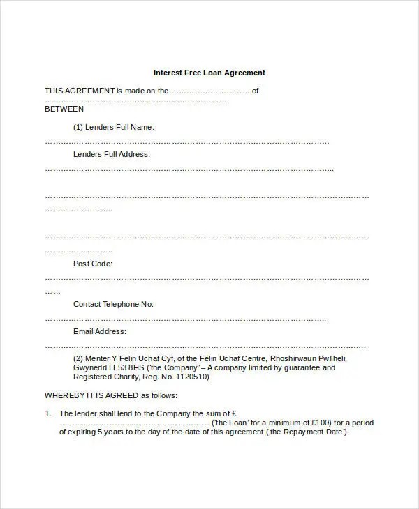 Loan Agreement Form - 14+ Free PDF Documents Download Free