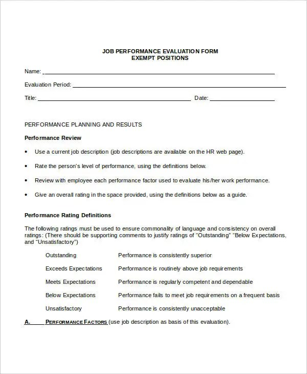 9+ Employee Review Forms - Free Sample, Example, Format Free - job performance evaluation form templates