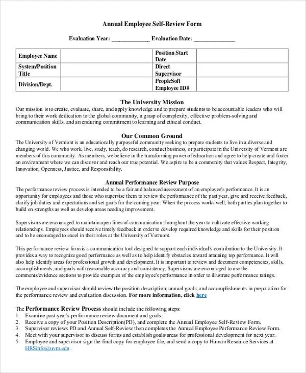 9+ Employee Review Forms - Free Sample, Example, Format Free - performance self evaluation form