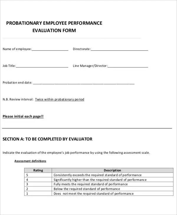9+ Employee Review Forms - Free Sample, Example, Format Free - standard performance review form