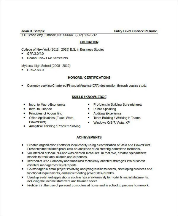 10+ Finance Resume Templates - PDF, DOC Free  Premium Templates