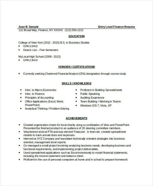 entry level finance resume samples
