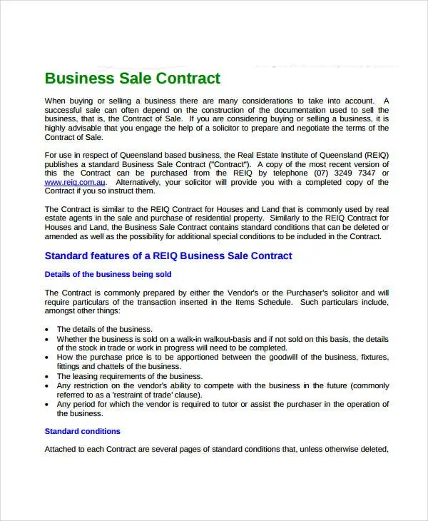 Sales Contract Template - 9+ Free PDF Documents Doownload Free - business sale contract