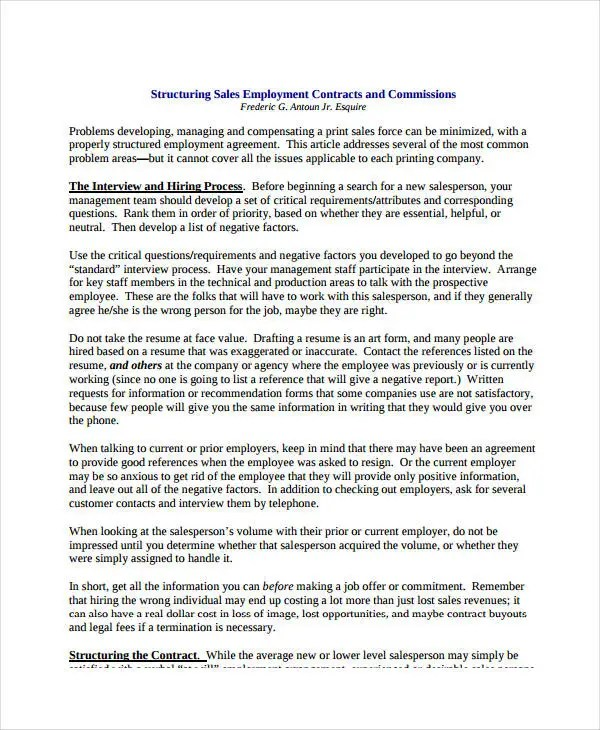 Sales Contract Template - 9+ Free PDF Documents Doownload Free - sales employment agreement