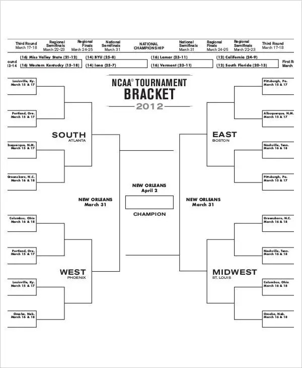 College Basketball Bracket - 7+ Free PDF Documents Download Free