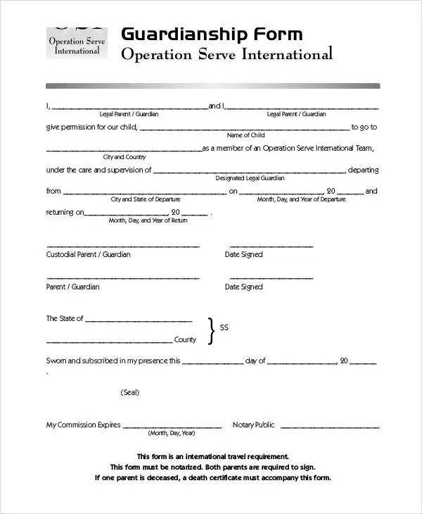 Guardianship Forms - 9+ Free PDF, Word Free  Premium Templates