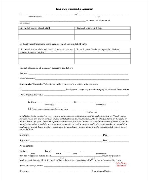 Guardianship Forms - 9+ Free PDF, Word Free \ Premium Templates - temporary guardianship form