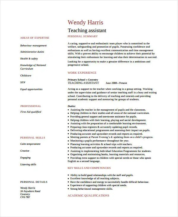 9+ Teacher Assistant Resume Templates - PDF, DOC Free  Premium - Teaching Assistant Resume Sample