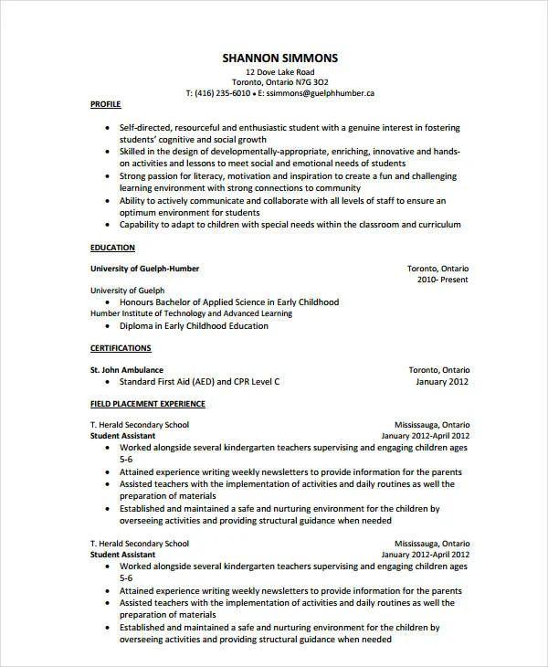 kindergarten assistant resume samples