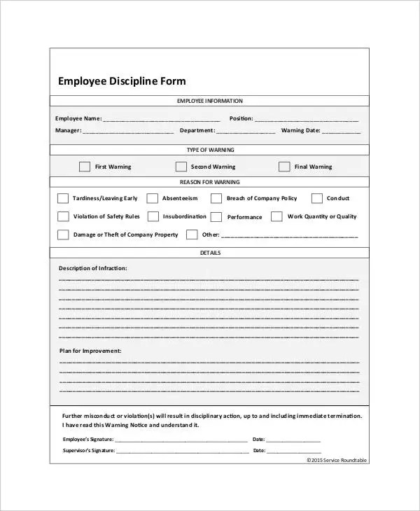 Disciplinary Action Form Template Bestsellerbookdb