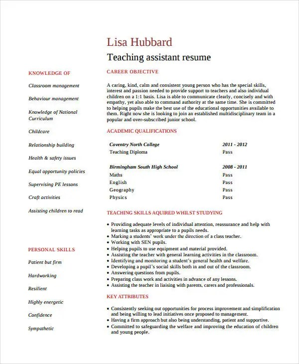 Teacher Assistant Resume - 9+ Free PDF Document Download Free - teaching assistant resume