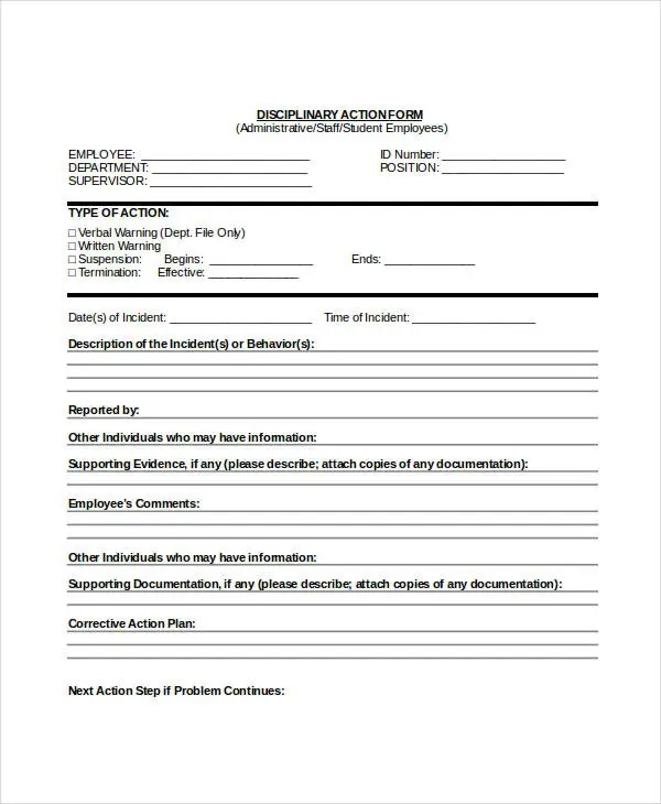 Employee Disciplinary Action Form Disciplinary Action Form 04 40 - disciplinary memo template