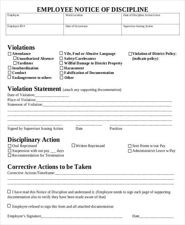 Disciplinary Action Form Employee Corrective Action Plan Word - notice form in word