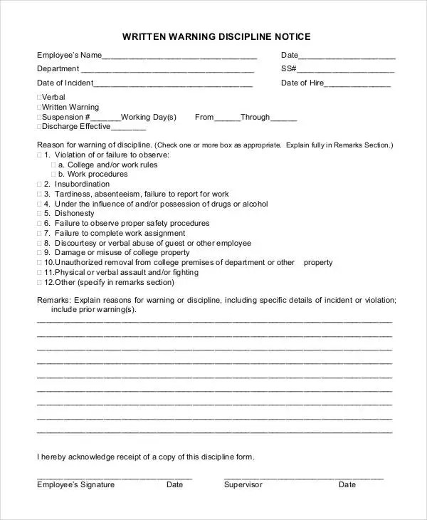 Employee Discipline Form Sample Employee Discipline Notice Form - employee warning form