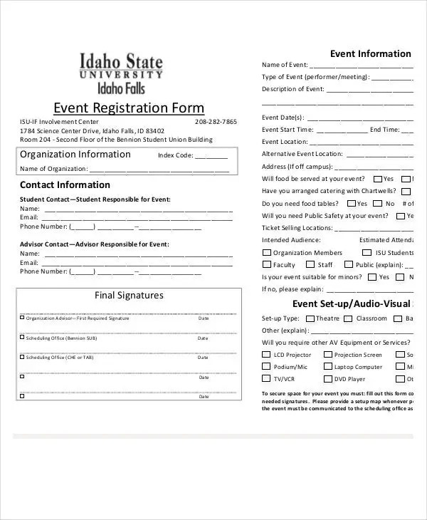 Registration Form Template - 9+ Free PDF, Word Documents Download - Event Registration Form Template Word
