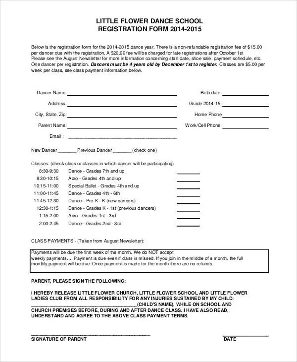 Registration Form Template - 9+ Free PDF, Word Documents Download - enrolment form template