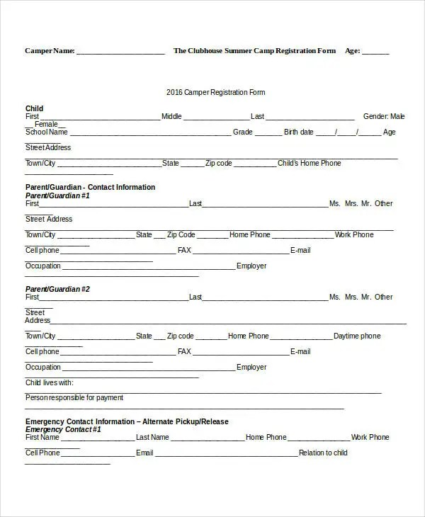 Registration Form Template - 9+ Free PDF, Word Documents Download - registration template