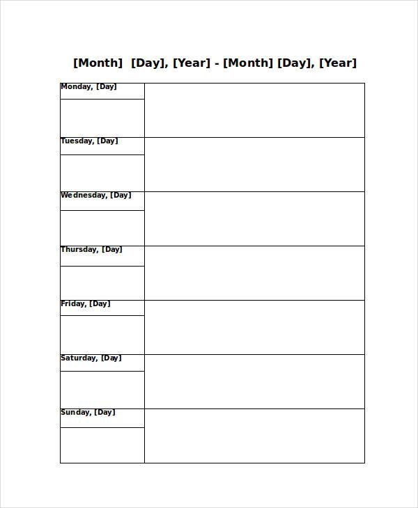 Blank Weekly Calendar - 9+ Free PDF, Word Documents Download Free