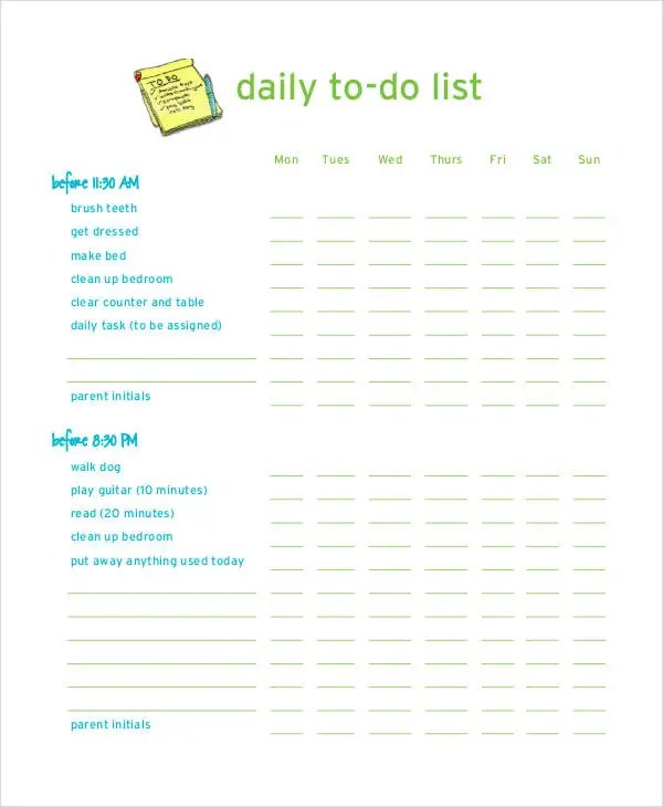Daily To-Do List Template - 7+ Free PDF Documents Download Free - daily to do template