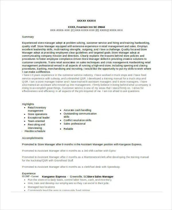 Store Manager Resume - 9+ Free PDF, Word Documents Download Free - assistant manager resume